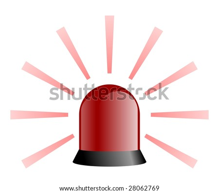 Red rotating beacon with rays - stock photo