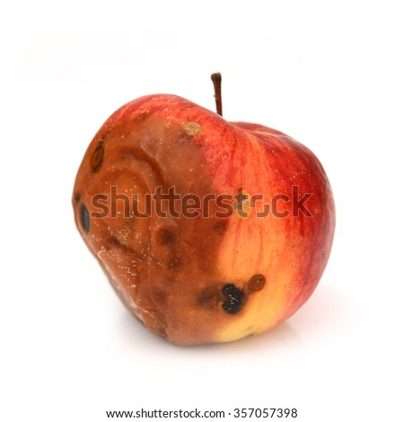 Red rotten apple, natural texture  - stock photo