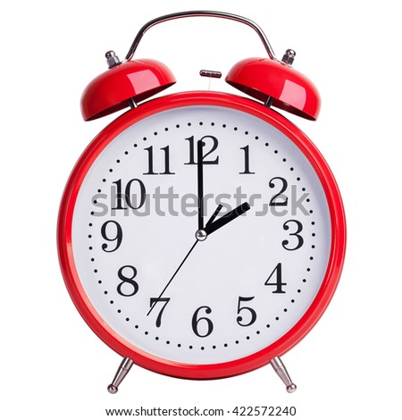 Red round alarm clock shows exactly two - stock photo