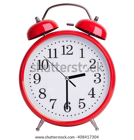 Red round alarm clock shows half past two - stock photo