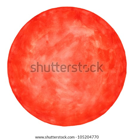 Red round blank watercolor circle shape form isolated on white background. Colored aquarelle template. Handmade technique. - stock photo