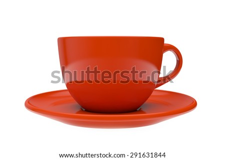 red round empty tea cup on a saucer, a side view - stock photo
