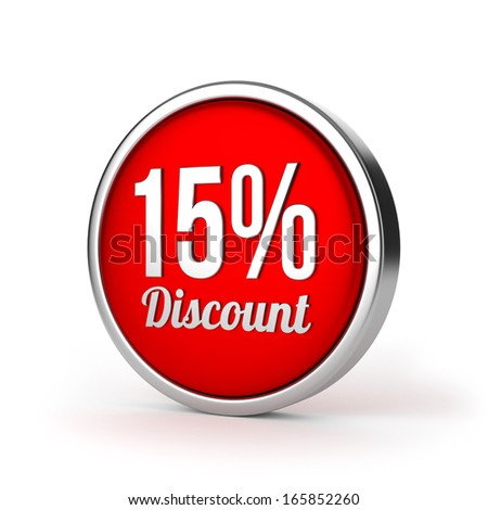 Red round fifteen percent discount button with metallic border