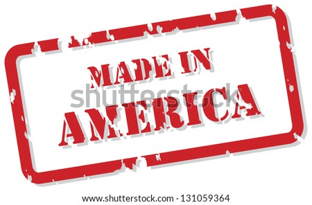 Red rubber stamp of Made In America