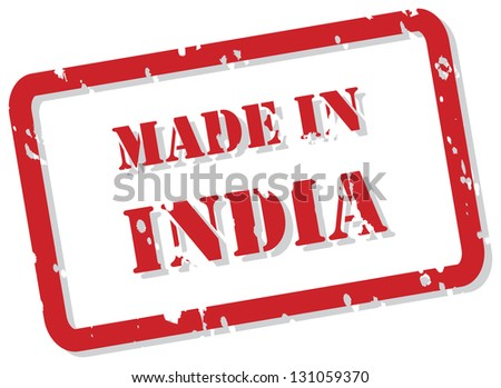 Red rubber stamp of Made In India