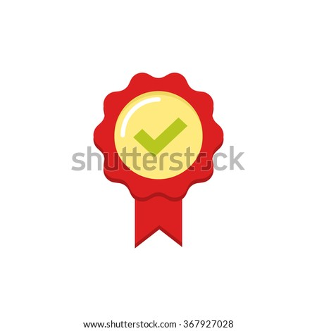 Red rubber stamp seal icon with tick and ribbon, approved label symbol, confirmation badge, concept of award prize, medal emblem flat modern design isolated on white   - stock photo