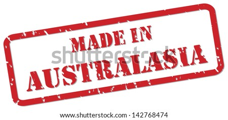 Red rubber stamp vector of Made In Australasia - stock photo