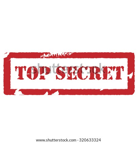 Red rubber stamp with text top secret vector isolated on white - stock photo