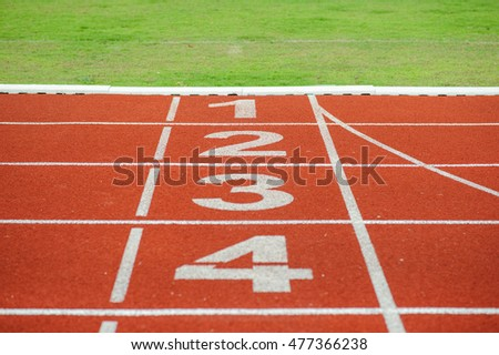 Red running track,competition to the winner