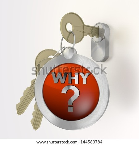Red  safe protection 3d graphic with isolated why symbol  on a key - stock photo