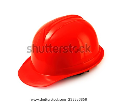 Red safety helmet on white background, hard hat isolated clipping path. - stock photo