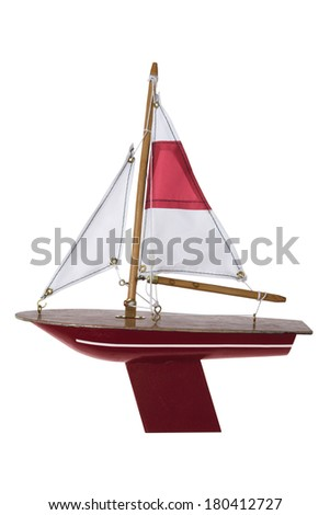 red sailboat on white