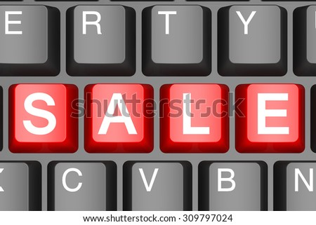 Red sale button on modern computer keyboard image with hi-res rendered artwork that could be used for any graphic design.