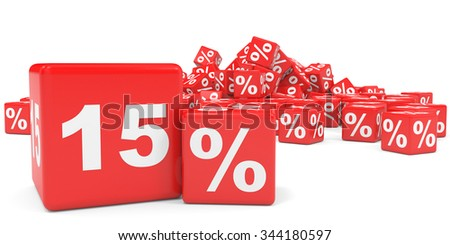 Red sale cubes. Fifteen percent discount. 3D illustration.