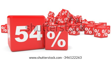 Red sale cubes. Fifty four percent discount. 3D illustration.