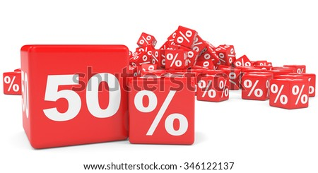 Red sale cubes. Fifty percent discount. 3D illustration.