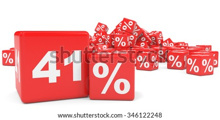 Red sale cubes. Forty one percent discount. 3D illustration.