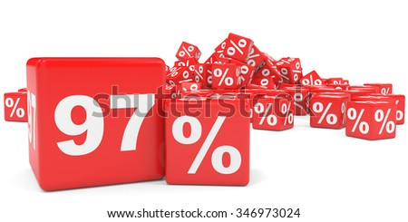 Red sale cubes. Ninety seven percent discount. 3D illustration.