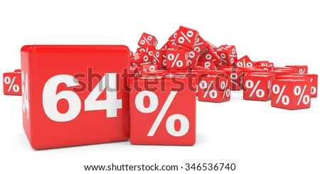 Red sale cubes. Sixty four percent discount. 3D illustration.