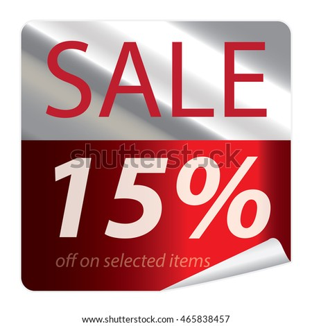 Red Sale 15% Promotion Campaign on Square Peeling Sticker Isolated on White Background