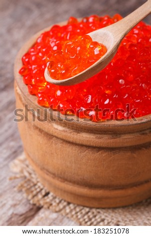 red salmon caviar in a wooden spoon and a barrel on the table. closeup. vertical.  - stock photo