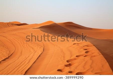 "Red sand ""Arabian desert"" near Dubai, United Arab Emirates - stock photo"