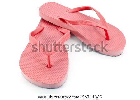 Red sandals or flip flops - stock photo
