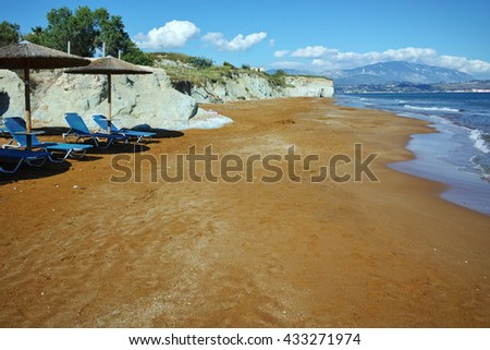 Red sands of xsi beach, Kefalonia, Ionian Islands, Greece - stock photo
