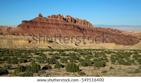 Red sandstone cliffs of Black Dragon Canyon - Utah