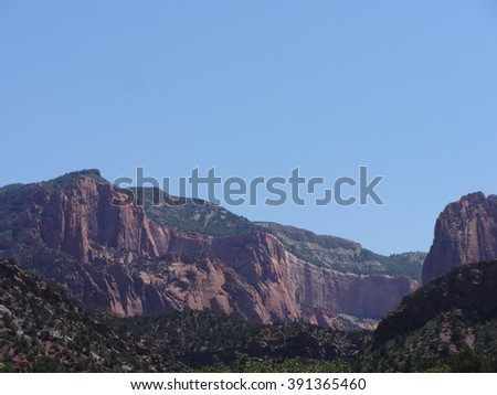 Red sandstone rock in Kolob Canyon, Utah - stock photo