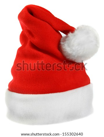 Red Santa Claus hat isolated on white background - stock photo