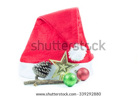 Red Santa Claus hat on white background - stock photo