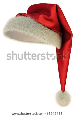 red Santa Claus hat on white background including clipping path - stock photo