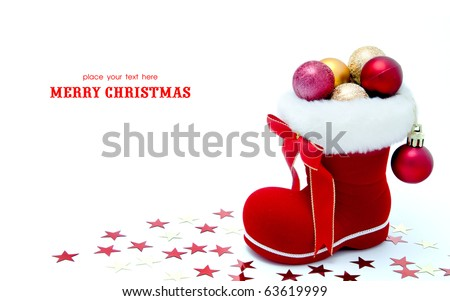 Red Santa's boot with copyspace isolated on white background - stock photo