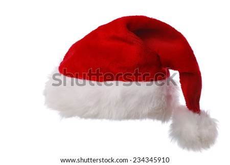 Red Santas hat against white background - stock photo