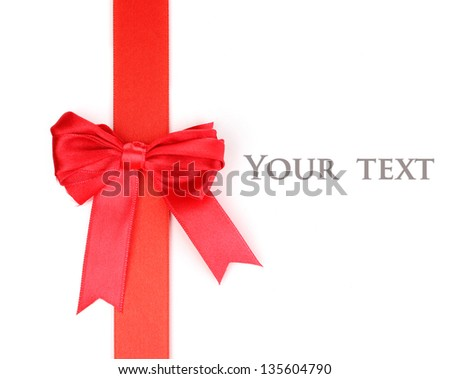 Red satin bow and ribbon isolated on white - stock photo