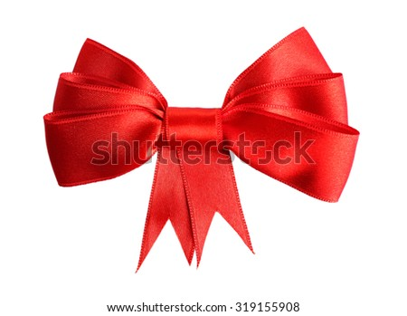 Red satin bow isolated on white - stock photo