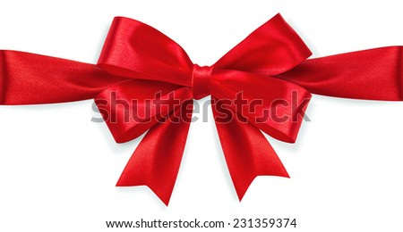 Red satin bow isolated on white background - stock photo