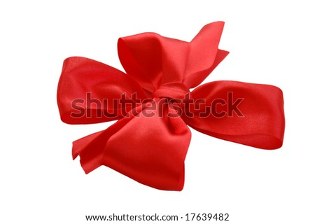 red satin bow with ribbon isolated on white