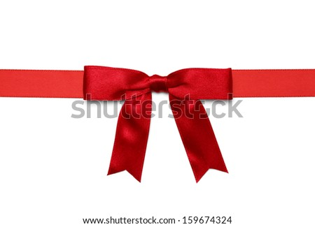 Red Satin Bow With Ribbon Isolated on White Background.