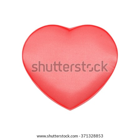 Red satin box in the form of heart for St. Valentine's Day isolated on the white