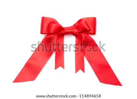 Red satin double gift bow, isolated on white. Symbol of party and happy holiday