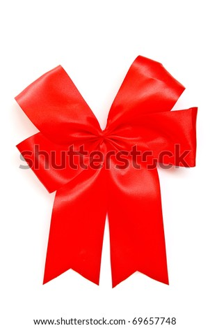 red satin fabric ribbon bow isolated on white background