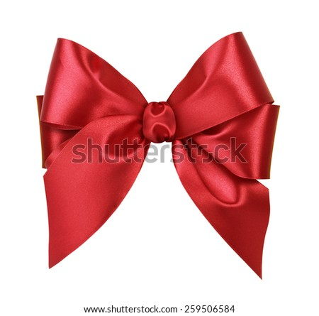 Red satin gift bow. Isolated on white background
