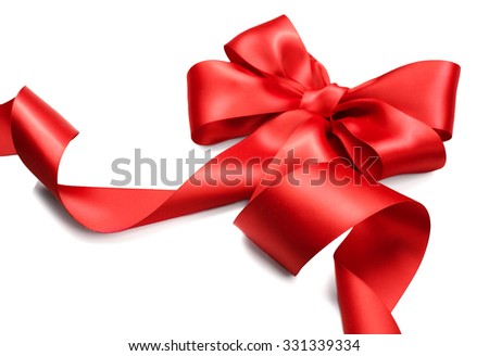 Red satin gift bow. Ribbon Isolated on white background. Elegant Holiday Christmas red silk ribbon - stock photo