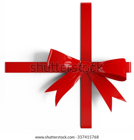 Red satin gift  ribbon on white background