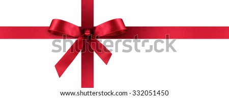 Red Satin Gift Ribbon with Decorative Bow - Horizontal Panorama Banner - Christmas, Easter, Birthday and Valentine Decor - Isolated on White Background - For Gift Coupon, Gift Certificate and Bonus - stock photo