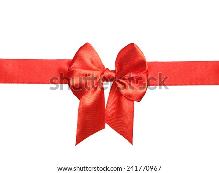 Red satin ribbon and bow isolated