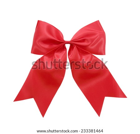 Red satin Ribbon bow  Isolated on white