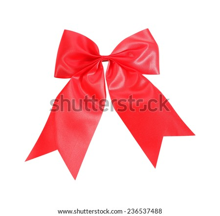 Red satin Ribbon bow Isolated on white - stock photo